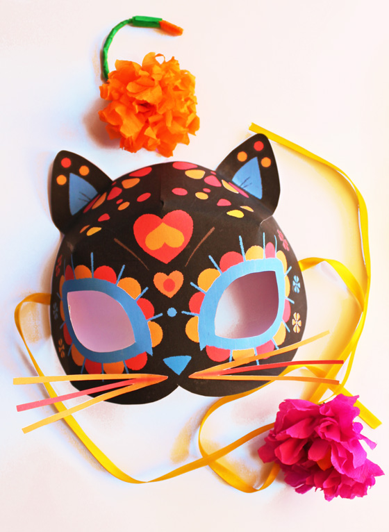 Dia de los Muertos or Day of the Dead calavera cat mask template!