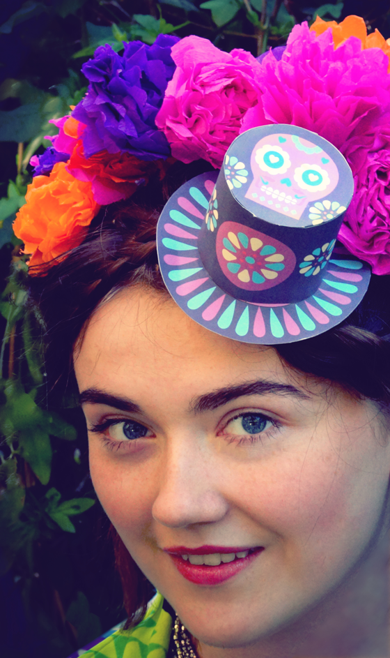 Frida Kahlo inspired Day of the Dead, calavera makeup, paper flowers and mini top hat costume!