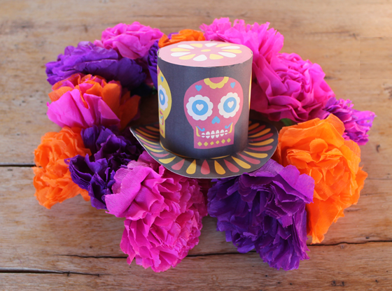 Day of the Dead mini top hat and paper flower headpiece tutorial