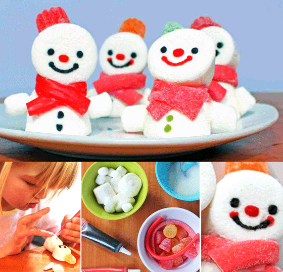Fun Step-by-step marshmallow snowmen are fun and easy to make!