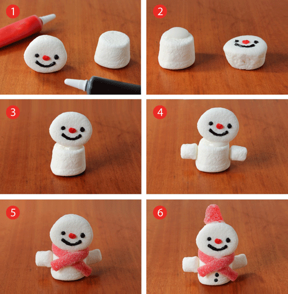 Step-by-step marshmallow snowmen are fun and easy to make!