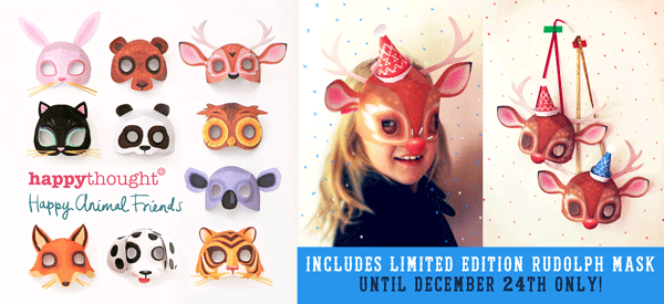 Printable animal masks: Rudolph the red nosed reindeer mask printable!