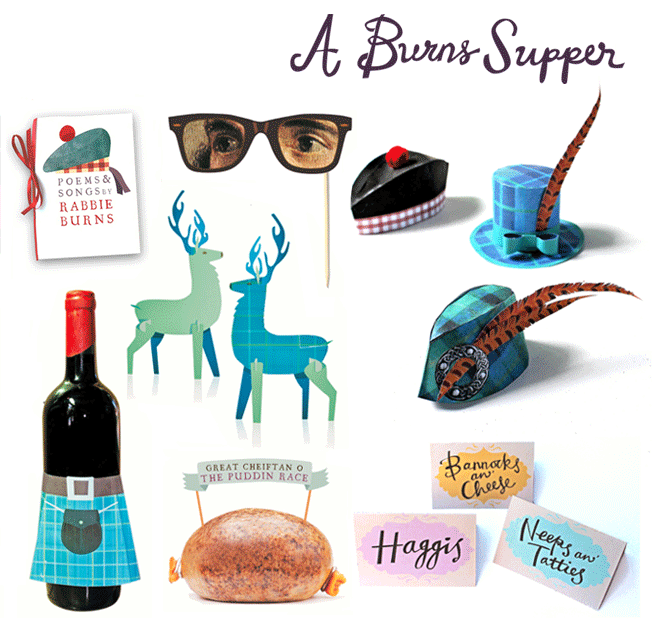 A burns night supper printable paper craft set