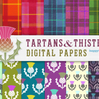 Tartan and thistles digital papers