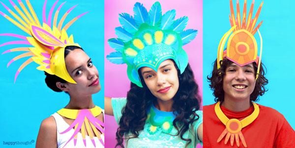 3 plantillas para hacer coronas de papel para celebrar el carnaval, fáciles de hacer