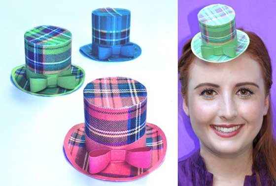 Burn night mini tartan top hats - No sew patterns, cutouts and templates.