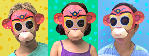 Three cheeky monkeys chinese new year paper mask