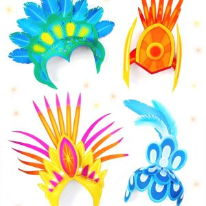 Papercraft step-by-step photo instructions: 4 easy homemadecarnival crown headpiece