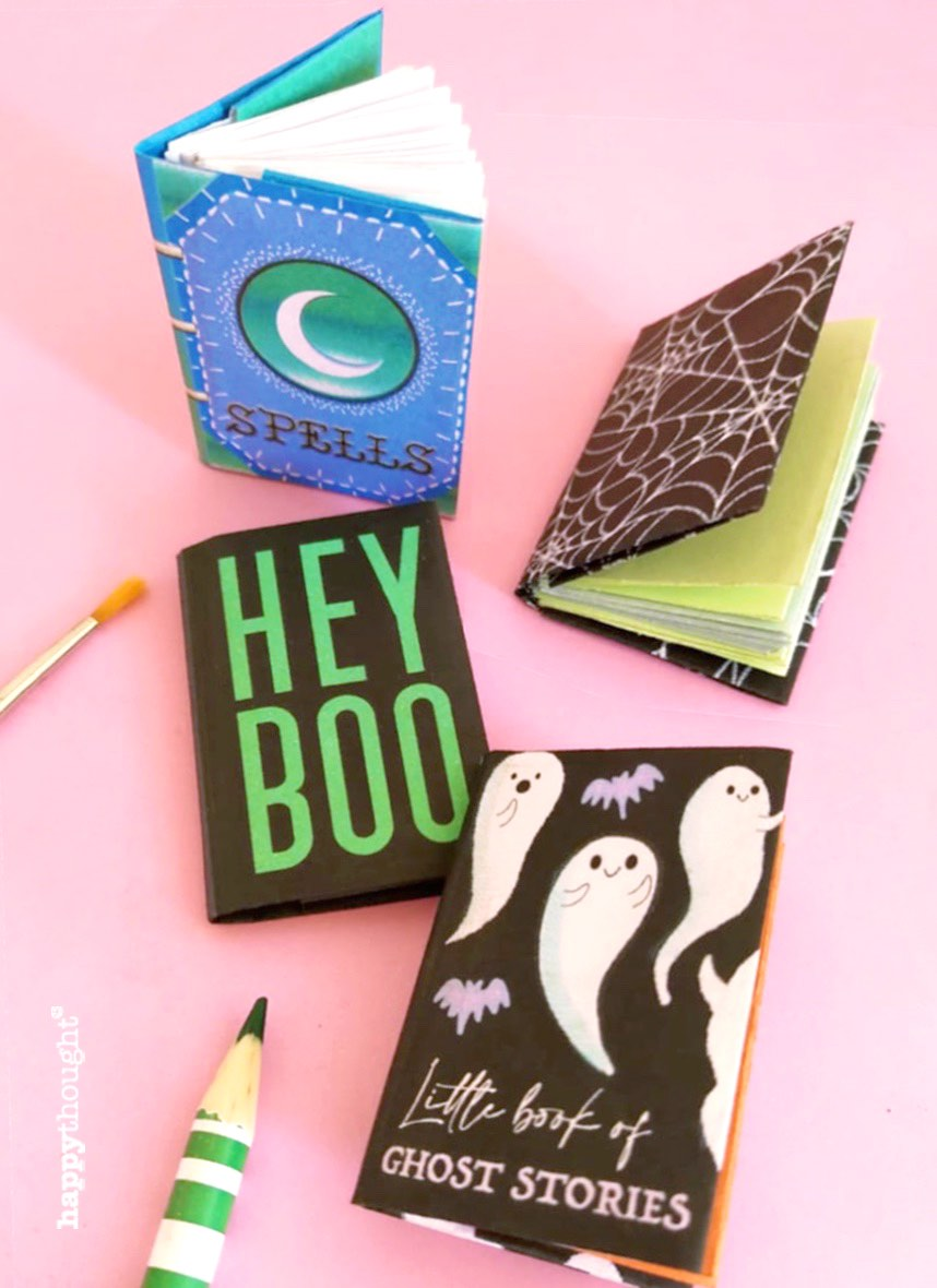 Four mini books to make-for Halloween templates instructions