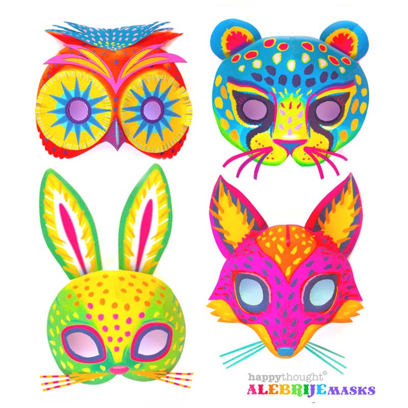 Printable alebrije masks - Make DIY jaguar, fox, owl and rabbit masks