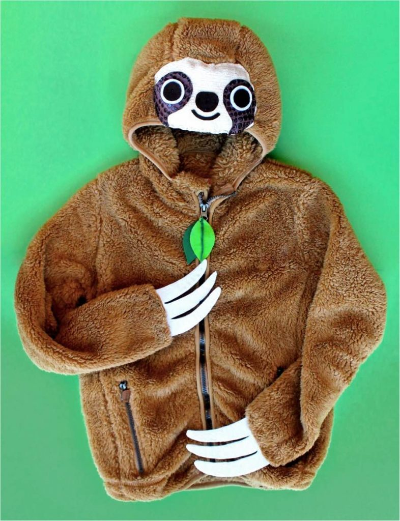 Step 9-hoody sloth costume idea and dress up