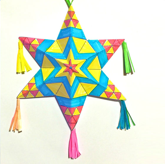 Printable craft activity worksheets: Coloring in Mexican paper star decorations for Cinco de-Mayo class or home activities!