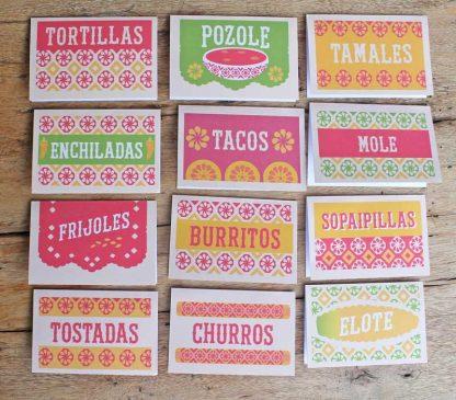 Cartelitos para comida y bebidas mexicanas -¡fáciles de descargar