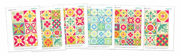 Printable talavera tile templates: Printable papercraft Ceramic style ceramica tiles