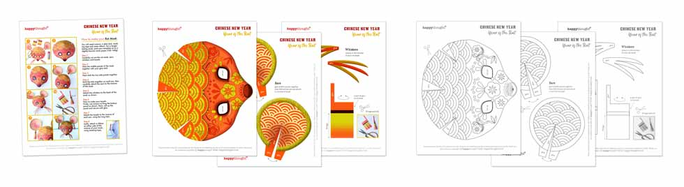 Chinese New Year rat PDF templates instructions