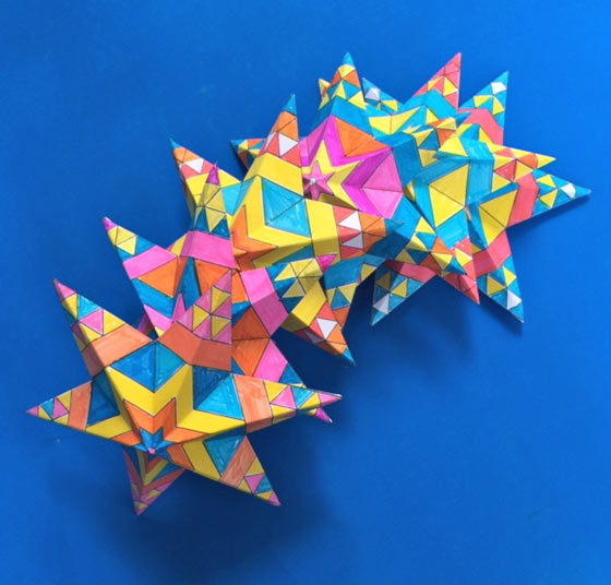 Printable DIY craft activity worksheets to color in Mexican paper stars for Cinco de Mayo!