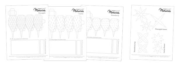 DIY Fruity maracas to print, make and color in. Fill with rice and shake away!