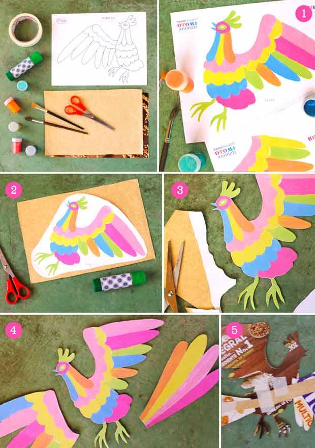 Intrucciones y plantillas fáciles de hacer incluídas - Como hacer pájaro de inspiración méxicana Otomí