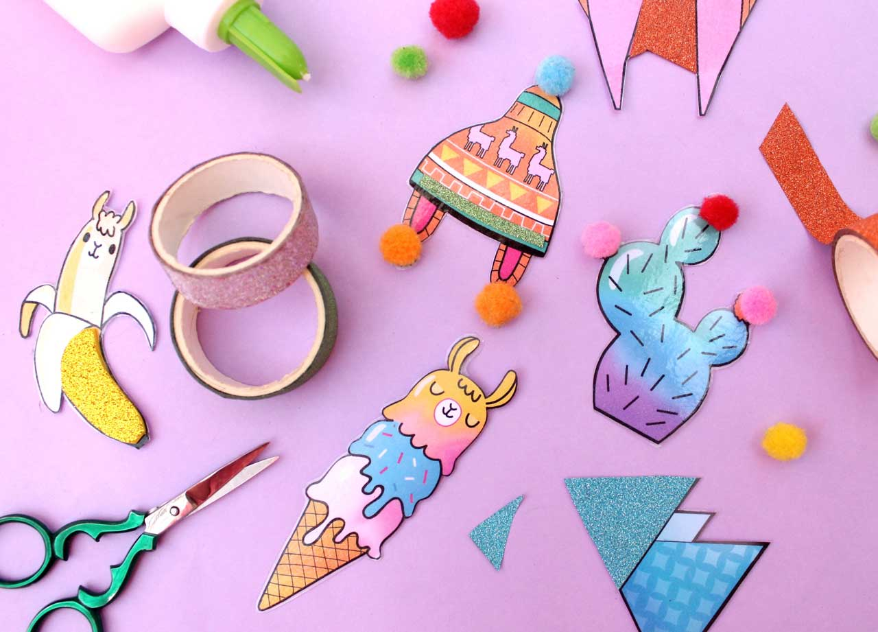Create DIY llama crafts colorful pin brooches