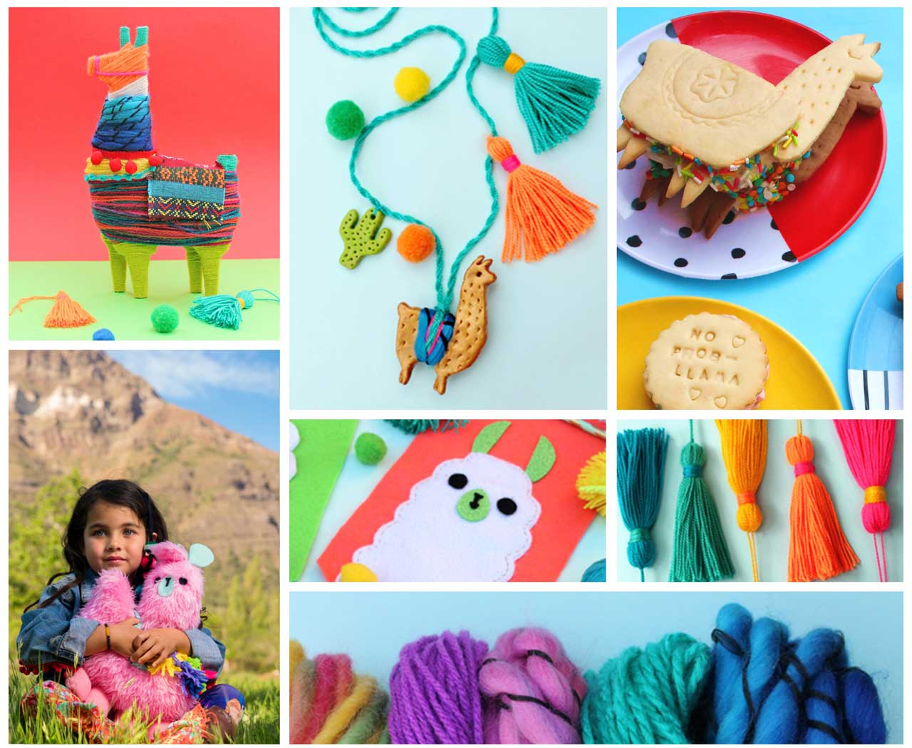 Easy to follow step-by-step photos and templates for making cute llamas at home