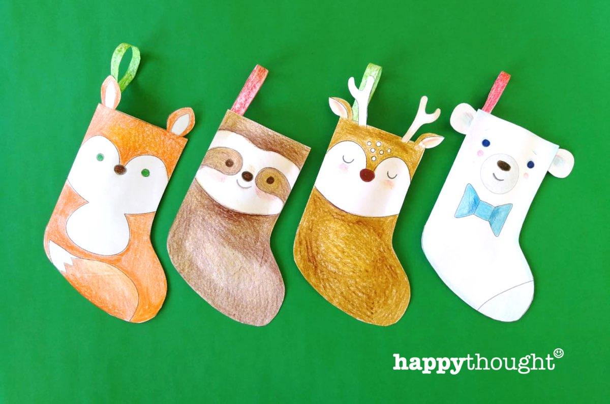 Cute animal stockings diy paper craft