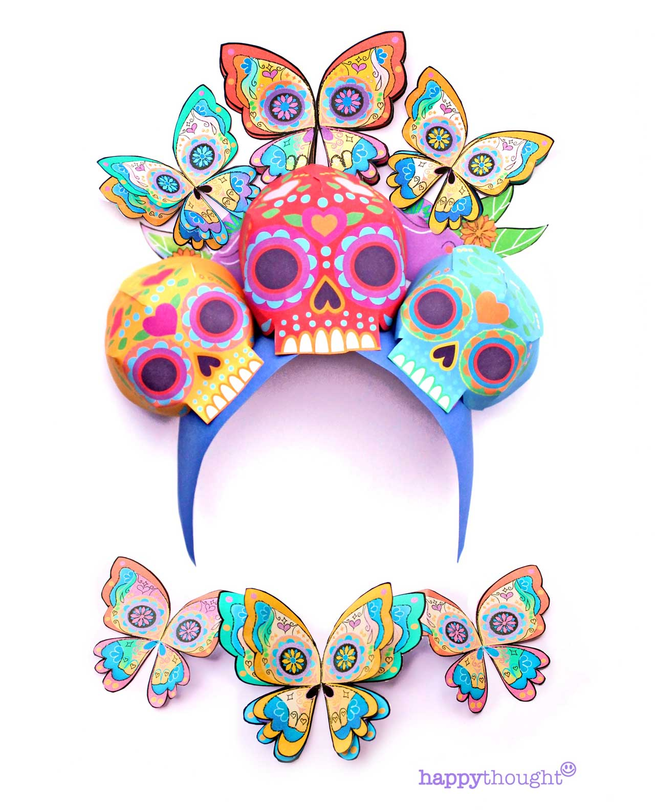 DIY carnival headdress for Day of the Dead mariposa skull crown