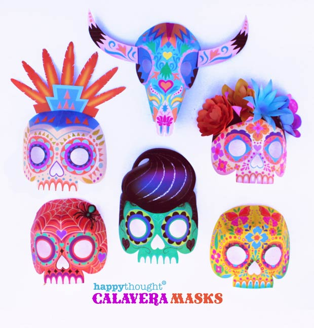 DIY mask calavera sugar skull templates and instructions