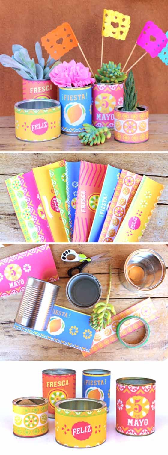 Papercraft decorations for Cinco de Mayo: Printable tin can labels and papel picado flags!