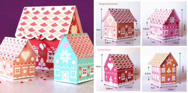 Ginger bread gift box templates. 30 DIY paper gift boxes!