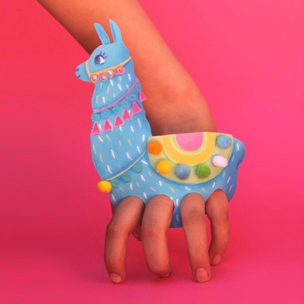 DIY paper llama finger puppets