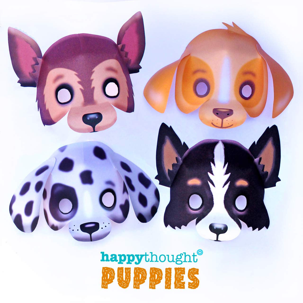 DIY puppy masks: Border collie sheepdog, German Shepherd, a Dalmation and a Labrador masks