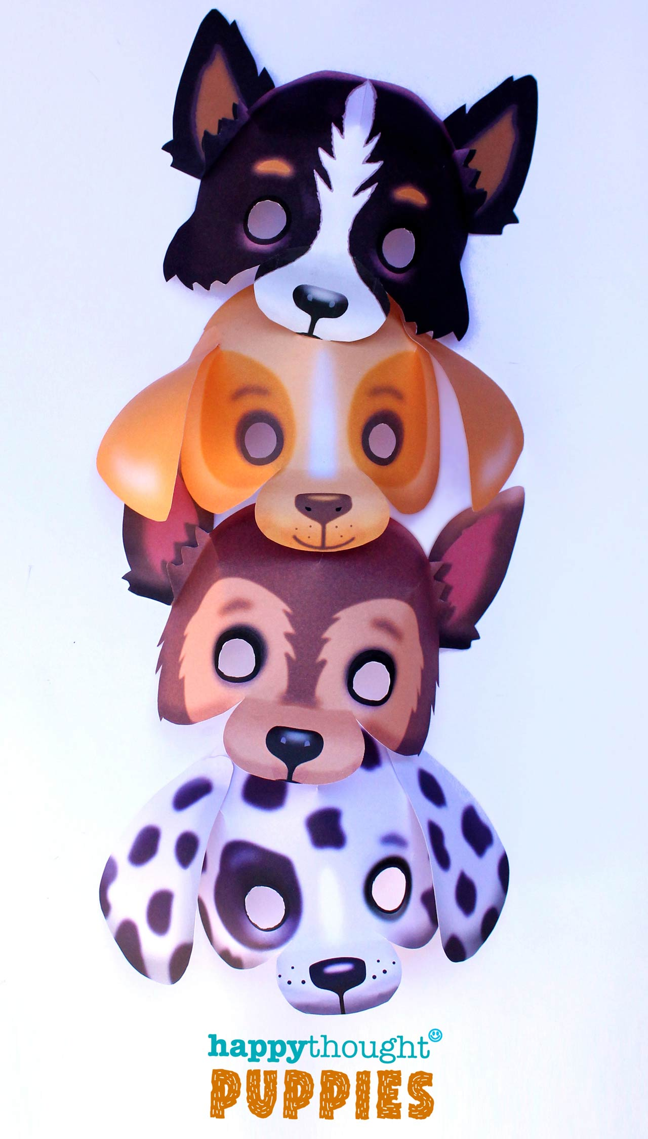 DIY puppy masks: Make a Border collie sheepdog, German Shepherd, a Dalmation and a Labrador.