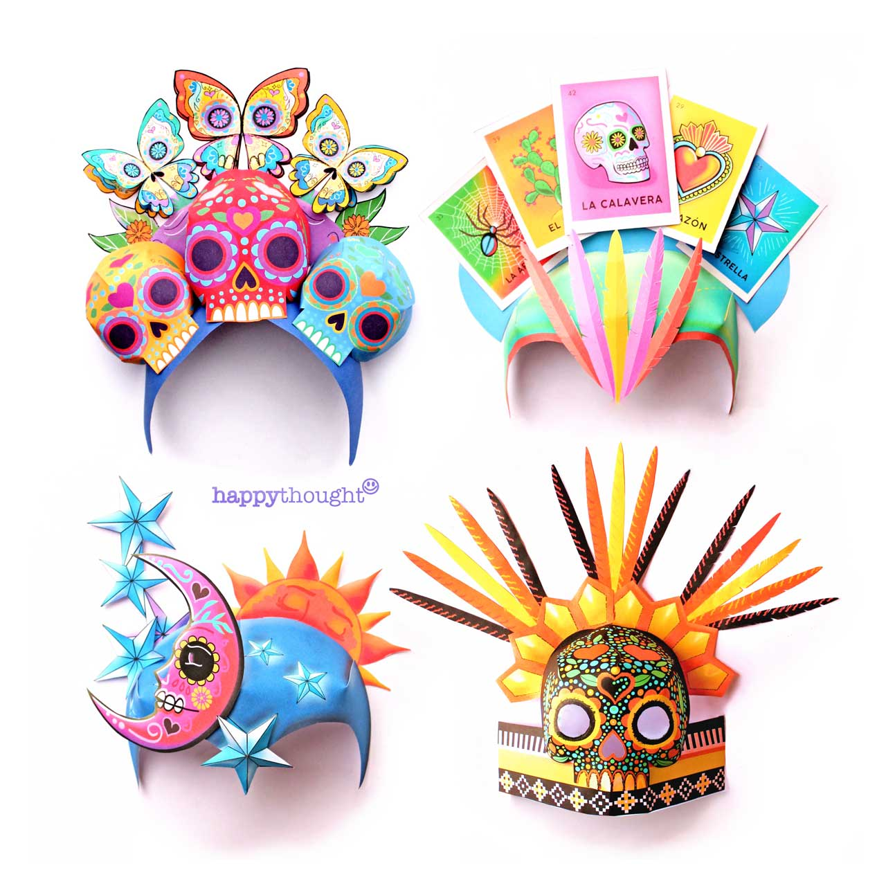 Day of the Dead El Dia de los Muertos headdresses paper crowns