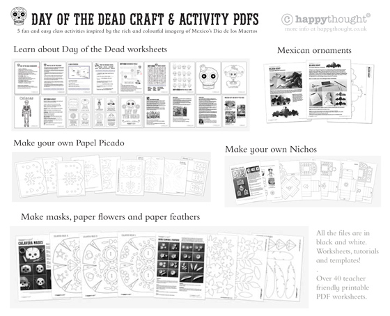 Day of the Dead or El Dia de los Muertos template ideas – Dia De Los Muertos Worksheets
