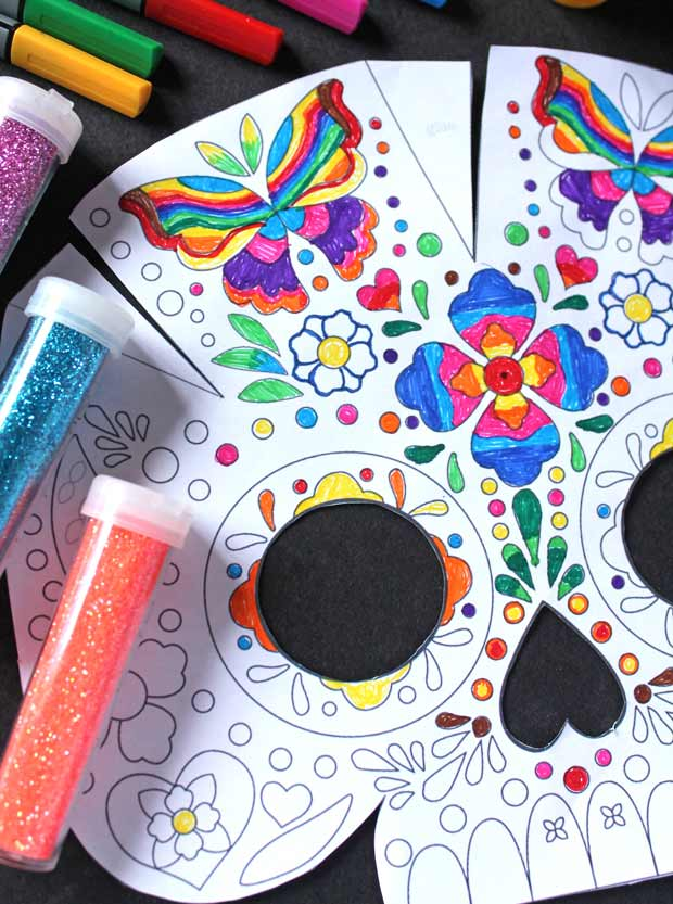 Day of the Dead calavera colour in mask templates and instructions DIY