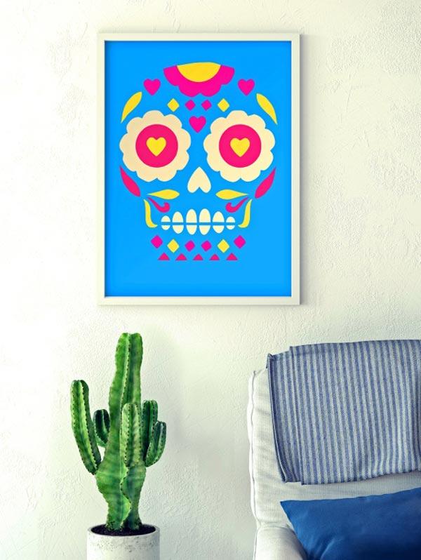 Day of the Dead calavera skull wall print framed