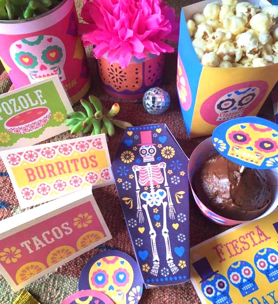 Day of the Dead coffin box party favors and decorations