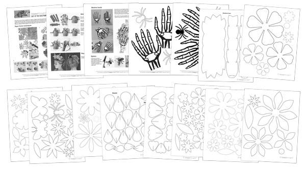 Haz tu propio tocado con decoraciones de flores de papel y mano de esqueleto