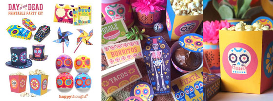 Happythoughts printable party kit for El Dia de los Muertos or Day of the Dead