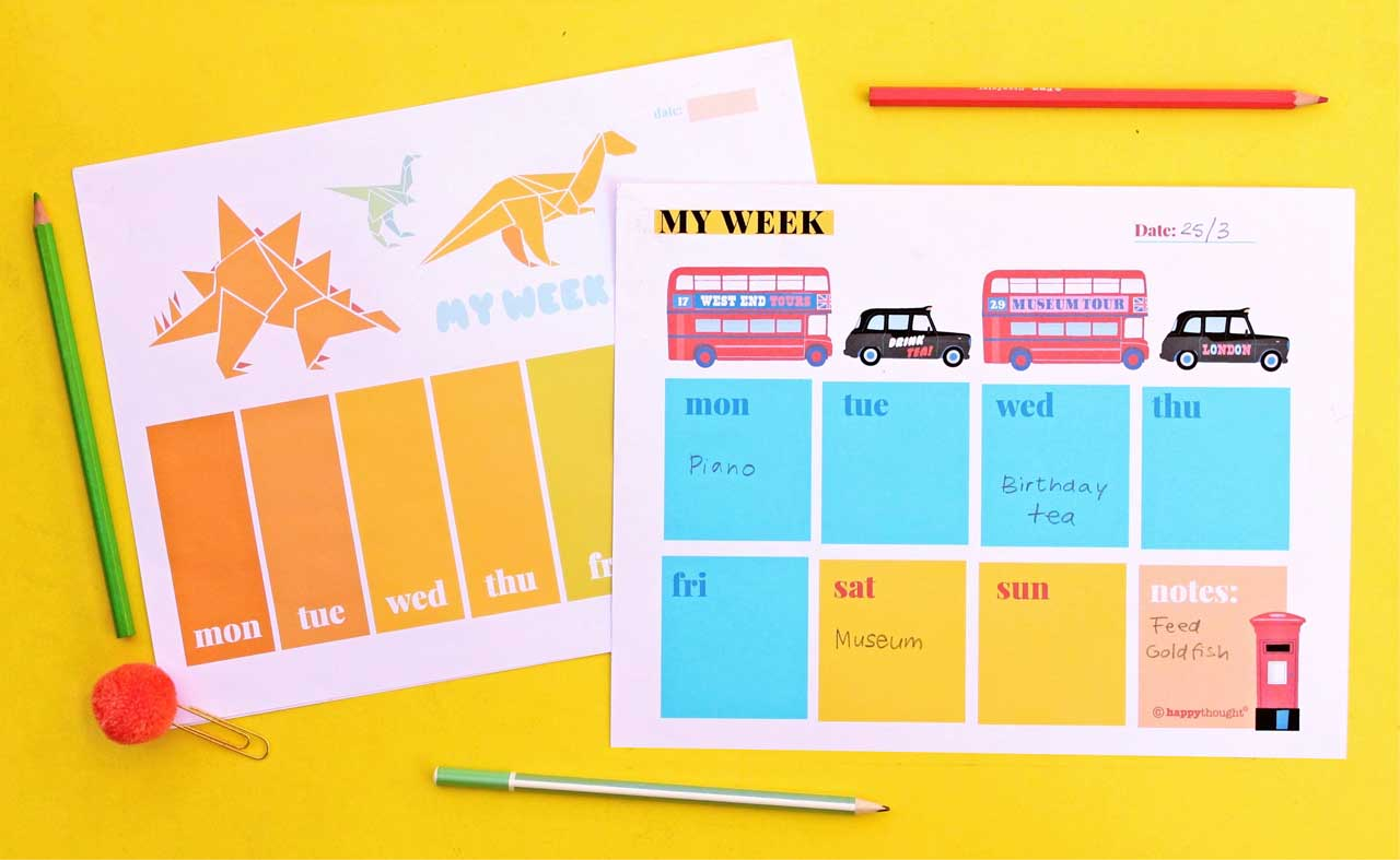 Designs for on trend printable weekly planners - dinosaurs, buses and taxis