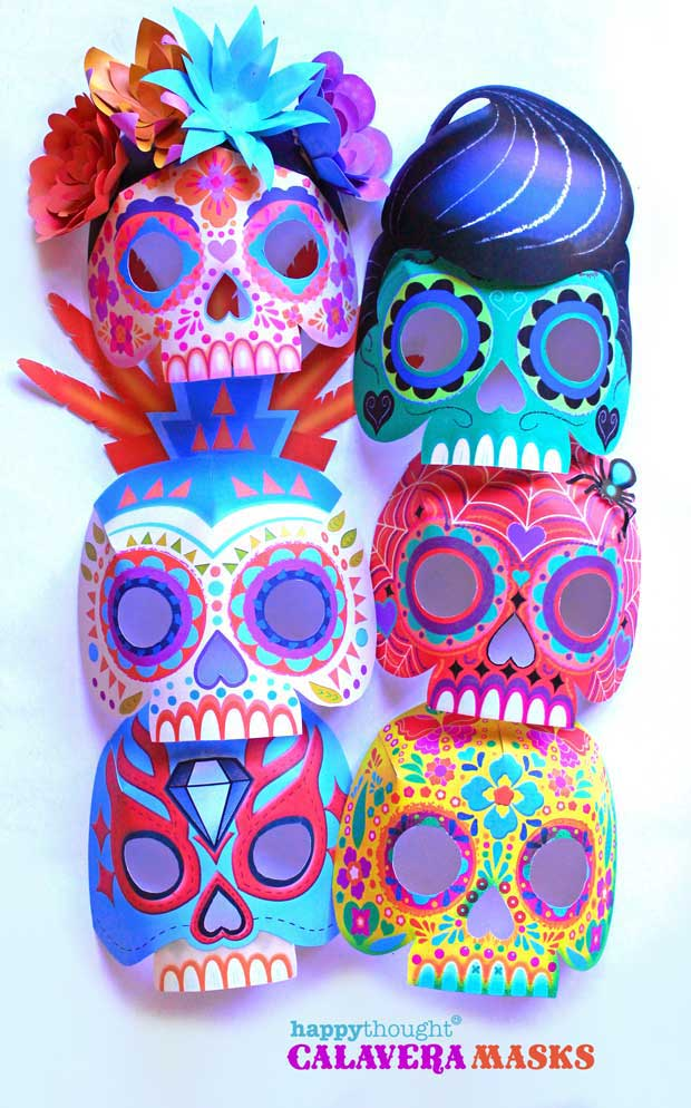 Nine easy to make printable DIY calavera masks: Telaraña, La Catrina, Plumas, Mariposa, Diamante, Gato, Rock n' roll, Bufalo and Luchador.