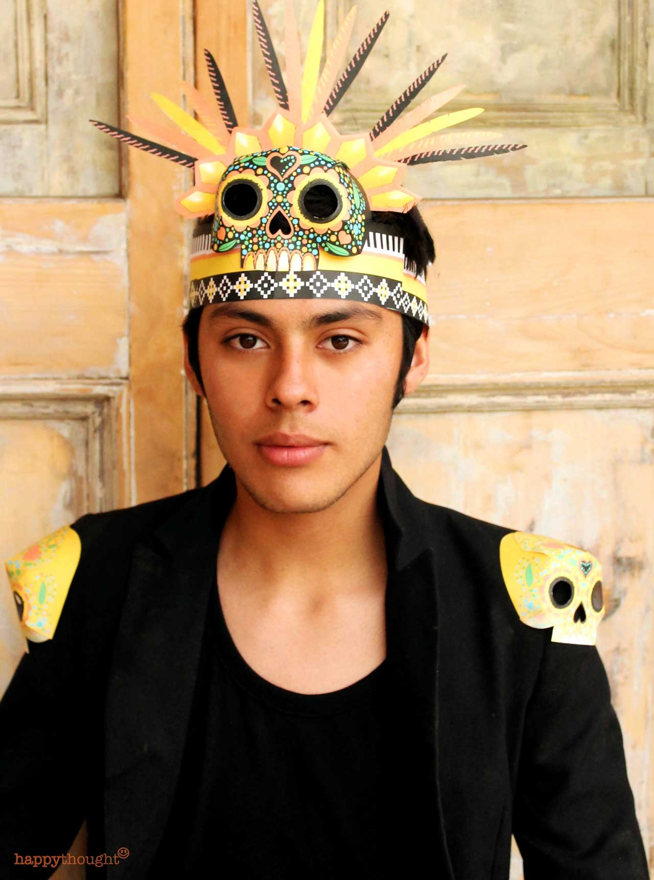 El Dia de los Muertos headdress design Chimalli Day of the Dead