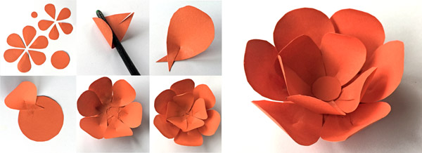 Orange paper flowers for El dia de los Muertos corona