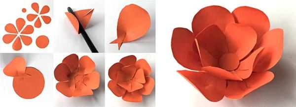 Flores de papel anaranjadas para corona del Día de los Muertos