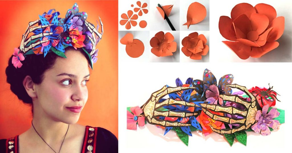 Day of the Dead paper flower crown tutorial and templates to try!