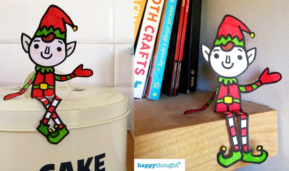 Festive Holiday craft pack - shelf elf paper figure