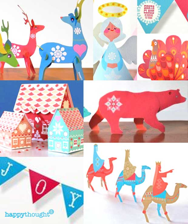 Festive angels, turkeys, reindeer, gift boxes DIY templates