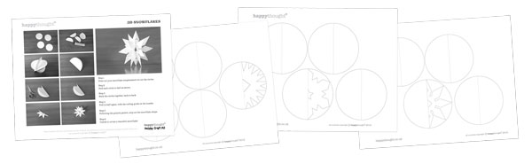 Festive craft activity worksheets 3D Snowflakes projects