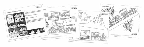 Happythought Holiday craft activity pack: Festive paper craft village templates! and instructions!