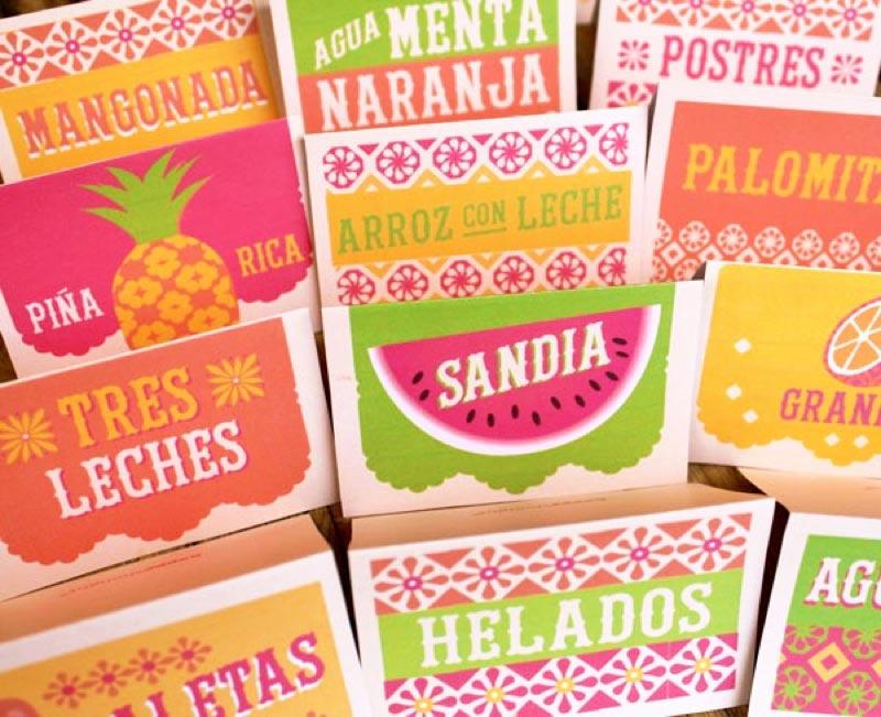 Food and drink signs - mangonada, aqua menta naranja, postres, piña rica, arroz con leche, palomitas, sandia, tres leches, helados